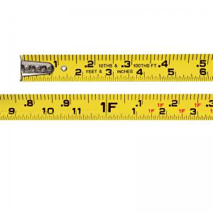 Keson 33' Nylon-Coated Steel Tape, Ft/Tenths-Ft/Inches, Dual Graduation, Chrome Coated, Rubber Grip