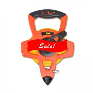 "Lufkin 1/2"" x 100' Engineer's Hi-Viz Orange Fiberglass Tape, 10ths 100ths"